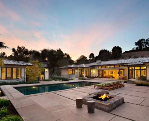 Los-Altos-Hills-Guesthouse-Main-House-Pool-Firepit-at-Dusk