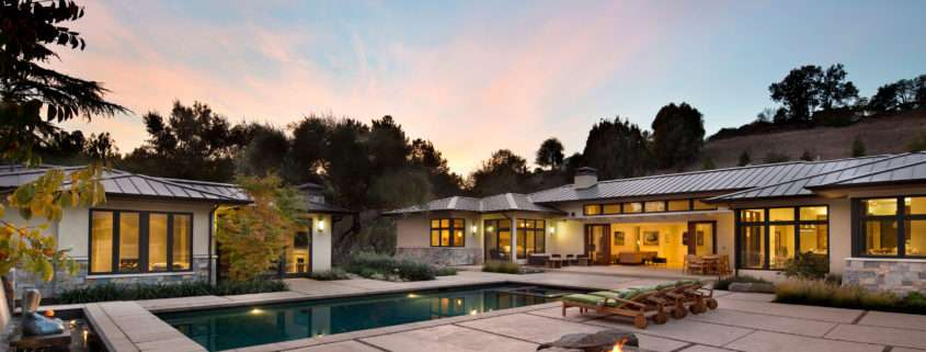 Los-Altos-Hills-Guesthouse-Main-House-Pool-Firepit-at-Dusk
