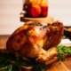 A simple Thanksgiving turkey preparation is on a table.